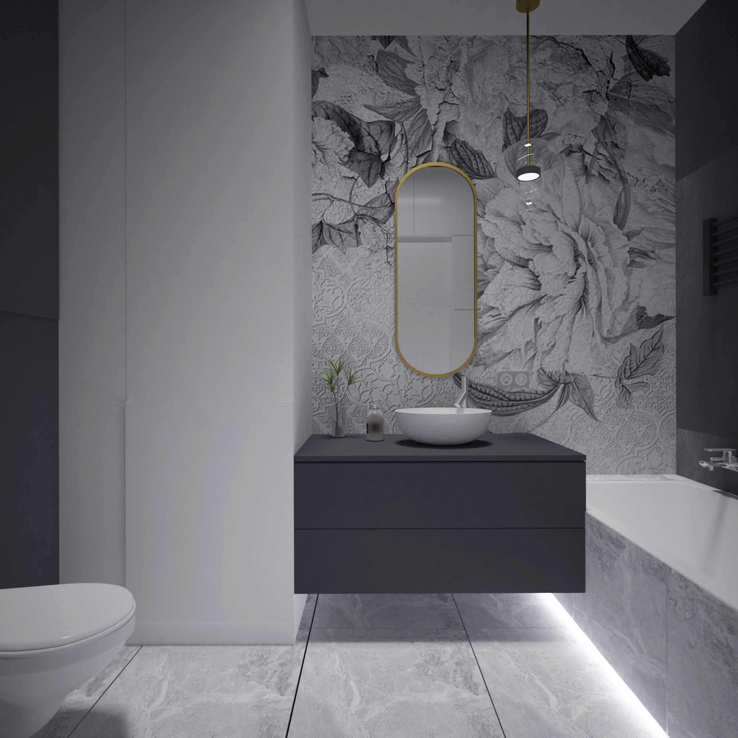 Projekt eleganckiej nowoczesnej łazienki