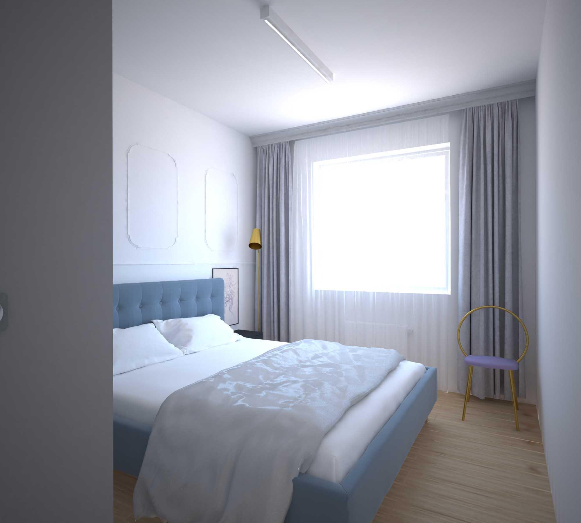 Projekt eleganckiej nowoczesnej jasnej sypialni
